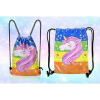 Image of £9.99 (from Spezzee) for a unicorn sequin drawstring back pack