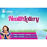 Image of £5 instead of £20 for 500 Health Lottery Lines and 500 £250K mega raffle tickets with You Play We Play - save 75%