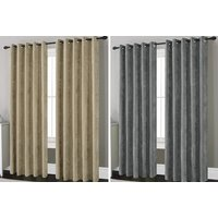 12.99 from Five Minutes More) for a pair of chenille lined eyelet curtains – choose from silver, teal, natural and plum
