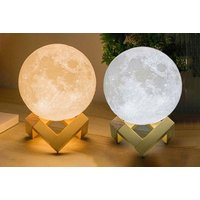 3D LED Moon Lamp with Wooden Base