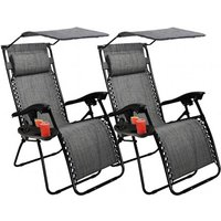 Set of 2 Heavy Duty Zero Gravity Chairs with Canopy