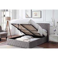 Image of Double or King Grey Studded Ottoman Bed Frame | Wowcher