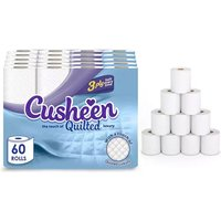 Image of 60pk Cusheen Quilted White 3-Ply Toilet Paper | Wowcher