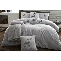 Image of Teddy Fleece Embroidered Stag Bedding Set - 6 Colours! | Wowcher