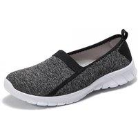 'Women's Flat Slip On Walking Trainers - Grey - Uk   Wowcher