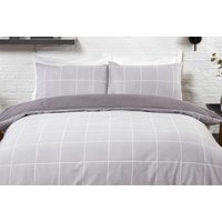 Image of Grid Check Grey Bedding Set - Single, Double, King, Super King | Wowcher