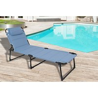 Image of Comfort Reclining Foldable Sun Lounger - Black, Grey or Blue | Wowcher