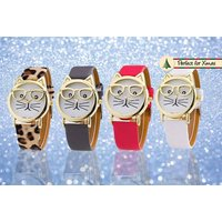£5.99 instead of £25 (from Styled By) for a women's 'cat geek' watch - choose from leopard print, grey, red or white and save 76% - Leopard Gifts