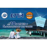 £2 instead of £3.99 for 10 syndicated EuroMillions Lottery lines plus five instant win games with chances for an up to £7k win from Lotto Social - save 50% - Games Gifts