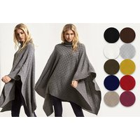 £14 instead of £30 for a checked knit turtle neck poncho - choose from 11 colours from Blue Maas ltd t/a Be Jealous - save up to 53% - Turtle Gifts