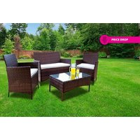 a fourpiece durable polyrattan outdoor garden furniture set  choose between black and brown and save 84%