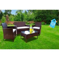 a four-piece durable polyrattan outdoor garden furniture set - choose between black and brown and save 83%