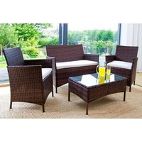 a fourpiece durable polyrattan outdoor garden furniture set  choose between black and brown and save 83%
