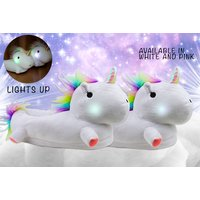 £12 instead of £34.99 (from Cheeky Box) for a pair of LED light-up unicorn slippers - choose pink or white and save 66% - Slippers Gifts