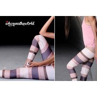 £7.99 instead of £22.99 (from Who Runs The World) for a pair of striped pastel yoga leggings - save 65% - Yoga Gifts