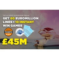 £9.99 instead of £23.74 for 60 syndicated EuroMillions Lottery lines over two draws and 10 instant win games from Lotto Social - try your luck and save 58% - Games Gifts