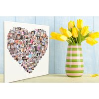 From £9 (from Your Perfect Canvas) for a personalised photo collage canvas in a heart, square or circle-shaped design - choose from four sizes using up to 150 images and save up to 80% - Photo Gifts