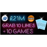 £2 instead of £3.99 for 10 syndicated EuroMillions Lottery lines plus ten instant win games with chances for an up to £7k win from Lotto Social - save 50% - Games Gifts
