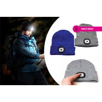 £5.99 instead of £19.99 (from Vivo Mounts) for a knitted beanie with 5-LED headlamp - choose from two colours and save 70% - Knitted Gifts