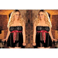 £7.99 instead of £27 (from Fifty Shades of Lust) for a black lace babydoll with red bow - save 70% - Babydoll Gifts