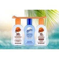 £4.99 instead of £7.97 (from Malibu) for a sun daily bodycare travel bag - get a 100ml 30 SPF sun tan lotion, a 100ml 15 SPF sun tan lotion and a 100ml after sun and save 37% - Malibu Gifts