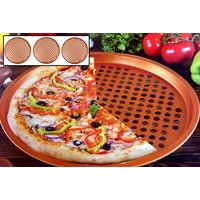 """£12 instead of £26 (from Eurotrade Ltd) for three copper 13"""" non-stick pizza baking trays - save 54% - Takeaways Gifts"""