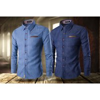 £12.99 (from Blu Apparel) for a men's denim slim fit shirt - Shirt Gifts