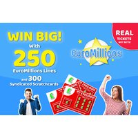 £9 instead of £30 for 250 EuroMillions lines and 300 syndicate scratchcards from Simply Syndicates - try your luck and save 70% - Entertainment Gifts