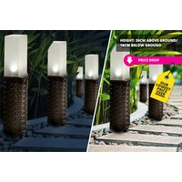£8.99 instead £39.99 (from Groundlevel) for a set of two durable polyrattan solar post lights or £15.99 for a set of four - save