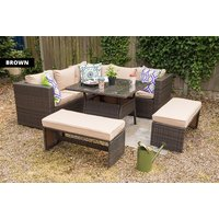 £449 instead of £970 (from Dreams Outdoors) for nine-seater durable polyrattan garden furniture set with two benches or £479 for a set with rain cover - save up to 54% - Outdoors Gifts