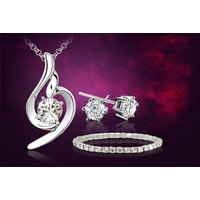 £8 instead of £79 for a white-gold plated cubic zirconia tri-set made with crystals from Swarovski® from Your Ideal Gift - save
