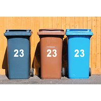 wheelie bin house number stickers  choose from a set of two or four from Fab Deco Ltd  Deco Matters  save up to 90%