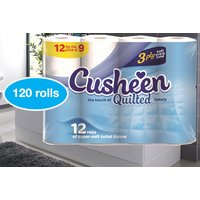 £29.99 instead of £70.99 for a 120 Cusheen 3-ply soft white quilted toilet rolls from Global Merchant Support - save up to 58% - Soft Gifts