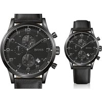 a mens Hugo Boss Aeroliner chronograph black leather watch  save 62%