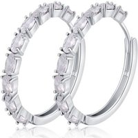 a pair of 4.0ct oval cut clear simulated sapphire rhodium plated earrings from Your Ideal Gift  save 88%