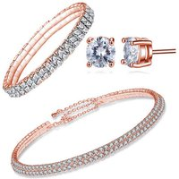 £16 instead of £129 (from Your Ideal Gift) for a rose gold double row tri set made with crystals from Swarovski ® - get some bling this summer and save 88% - Summer Gifts