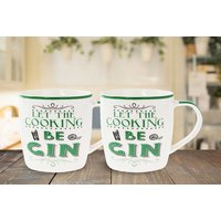 £7.99 instead of £39.99 for a set of two 'Let the Cooking be Gin' mugs from Direct2Public Ltd - save 80% - Cooking Gifts