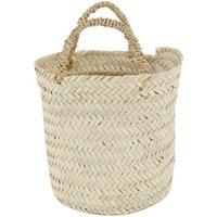 Flat Round Woven Palm Leaf Basket