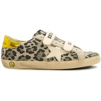 Old School Superstar Leopard Velcro Low Top Trainers