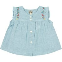 Nico Embroidered Gingham Buttoned Blouse