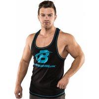 Bodybuilding.com Clothing B Swoosh Contrast Stitching Stringer Tank Large Black-Grey