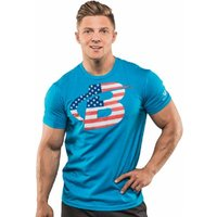 Bodybuilding.com Clothing Red, White, and Ripped Tee Medium Turquoise