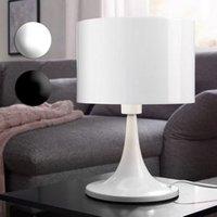 Wohnling Tischleuchte TILA Metallschirm Lampe Nachttischlampe hochglanz Tischlampe Ø 25cm Leselampe IP20