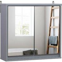 HOMCOM Spiegelschrank grau 14,5 x 48 x 45 cm (LxBxH)   Badschrank Hängeschrank Badmöbel Badspiegel