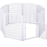Pawhut Freilaufgehege Für Haustiere Weiß 180 X 95 Cm (∅xh)  Welpenzaun Welpenauslauf Laufstall Welpengitter