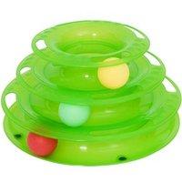 Pawhut Katzen Spielturm Mit 3 Bällen 25 X 16 X 13 Cm (lxbxh)  Tierspielzeug Kugelbahn Kreisel Katzenspielzeug
