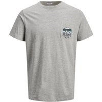 JACK & JONES Us Brustprint T-shirt Men Grey