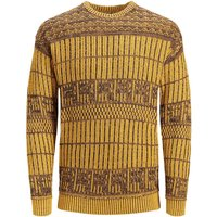 JACK & JONES Feiner Jacquard Strickpullover Men Yellow
