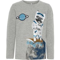 NAME IT Weltraumprint Longsleeve Men Grey