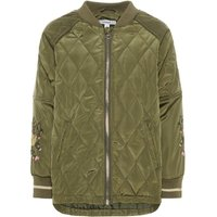 NAME IT Floral Embroidered Quilt Jacket Women Green